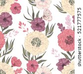 seamless pattern with peony ... | Shutterstock .eps vector #521777575