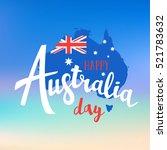 happy australia day lettering.... | Shutterstock .eps vector #521783632