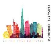 united arab emirates skyline...   Shutterstock .eps vector #521792965