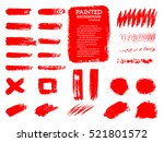 painted grunge stripes set. red ... | Shutterstock .eps vector #521801572