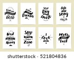 set of 8 cards or posters with... | Shutterstock .eps vector #521804836