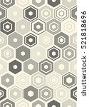 seamless monochrome hexagon... | Shutterstock .eps vector #521818696