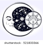 vintage hand drawn moon  sun... | Shutterstock .eps vector #521833366