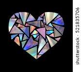 diy heart made from broken cd... | Shutterstock . vector #521835706