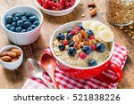 oatmeal porridge with fresh... | Shutterstock . vector #521838226