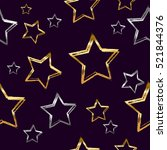 gold and silver stars pattern... | Shutterstock .eps vector #521844376