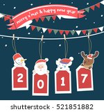 merry christmas greeting card... | Shutterstock .eps vector #521851882