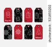 vector set of christmas gift... | Shutterstock .eps vector #521853202