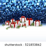 blue christmas background with... | Shutterstock .eps vector #521853862
