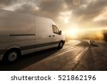 delivery van during sunset | Shutterstock . vector #521862196