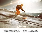 skier during sunset | Shutterstock . vector #521863735