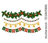 set of christmas garlands.... | Shutterstock .eps vector #521865886