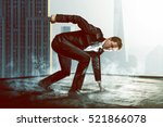 superhero on a roof | Shutterstock . vector #521866078