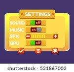 game ui. settings window. a...