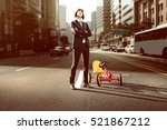 business man with pedal car in... | Shutterstock . vector #521867212