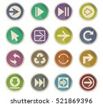 arrow web icons on color paper... | Shutterstock .eps vector #521869396