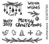 christmas set. handwritten... | Shutterstock .eps vector #521870782