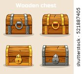 closed wooden treasure chest ... | Shutterstock .eps vector #521887405