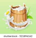 milk. rustic style. wooden... | Shutterstock .eps vector #521896162