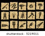 tools icons on crumpled paper | Shutterstock . vector #5219011