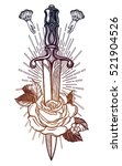 traditional tattoo flash rose... | Shutterstock .eps vector #521904526