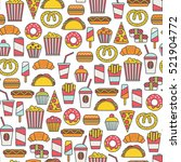 seamless pattern with fast food ... | Shutterstock .eps vector #521904772