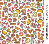 seamless pattern with fast food ...   Shutterstock .eps vector #521904778