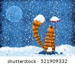 a red striped cat standing in... | Shutterstock . vector #521909332