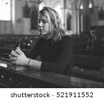 woman sitting church religion... | Shutterstock . vector #521911552