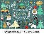 christmas set of design... | Shutterstock .eps vector #521913286