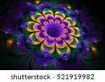 Abstract Exotic Flower On Blac...
