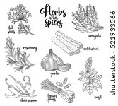 spices and herbs vector set to... | Shutterstock .eps vector #521933566
