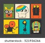 set of six retro postage s... | Shutterstock .eps vector #521936266