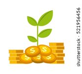 green plant and gold money... | Shutterstock .eps vector #521956456