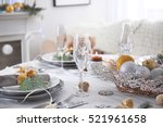 table served for christmas... | Shutterstock . vector #521961658