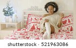 beautiful woman in long sweater ... | Shutterstock . vector #521963086