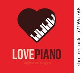 piano music love heart logo... | Shutterstock .eps vector #521965768