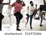 diversity people exercise class ... | Shutterstock . vector #521970286