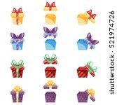 gift box new year cartoon flat... | Shutterstock .eps vector #521974726
