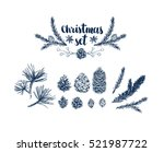 vector pinecone set  hand... | Shutterstock .eps vector #521987722