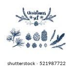 vector pinecone set  hand... | Shutterstock .eps vector #521987722