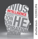 intelligence head of man with... | Shutterstock .eps vector #522001396