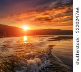 majestic sunset on the river.... | Shutterstock . vector #522024766