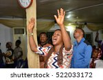 christians having a praise and... | Shutterstock . vector #522033172