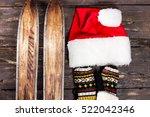 overhead view of retro ski... | Shutterstock . vector #522042346