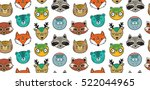 Stock vector vector seamless pattern with forest animals owl cat deer fox raccoon polar bear seal and 522044965