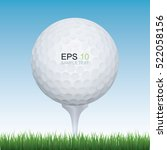 vector golf ball in green field ... | Shutterstock .eps vector #522058156