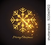 christmas gold snowflake with... | Shutterstock .eps vector #522060922