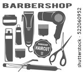 set of tools for haircut.... | Shutterstock .eps vector #522060952