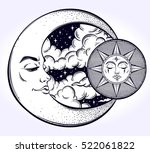 vintage hand drawn moon  sun... | Shutterstock .eps vector #522061822